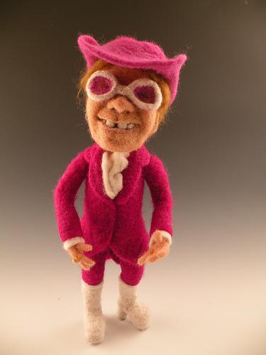 Elton John needle felted wool celebrity doll by needle felt artist Kay Petal