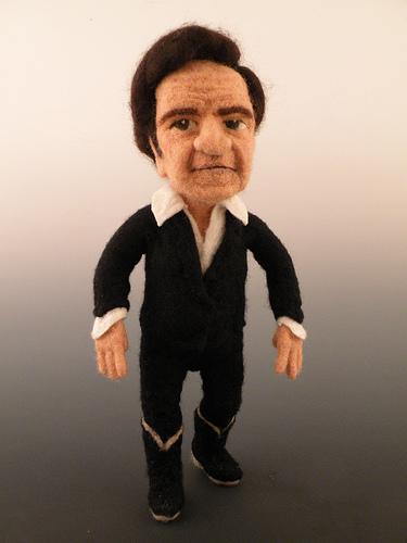 Johnny Cash needle felted wool doll by needle felt artist Kay Petal