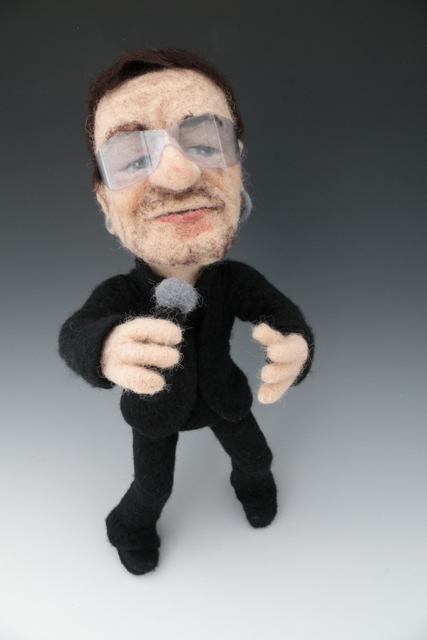 Needle Felted Bono Art Doll by Kay Petal Li'l Bono from U2