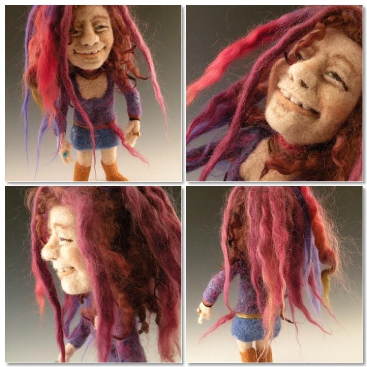 Janice Joplin needle felted wool celebrity doll by needle felt artist Kay Petal