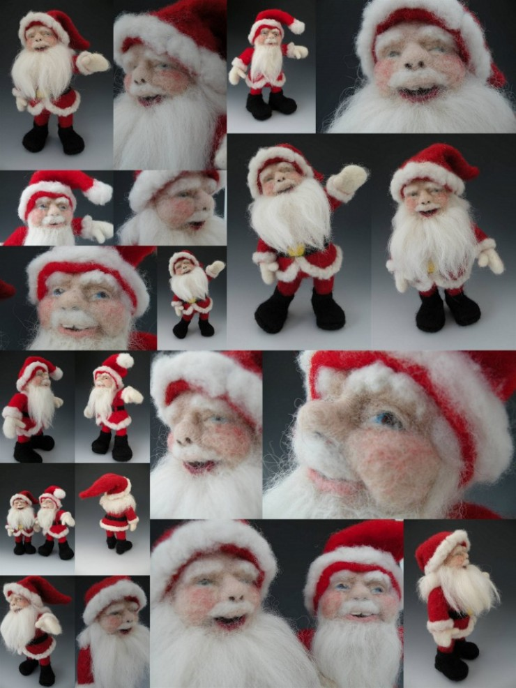 Needle Felted Wool Santa Dolls by Felt Alive Wool Sculptures