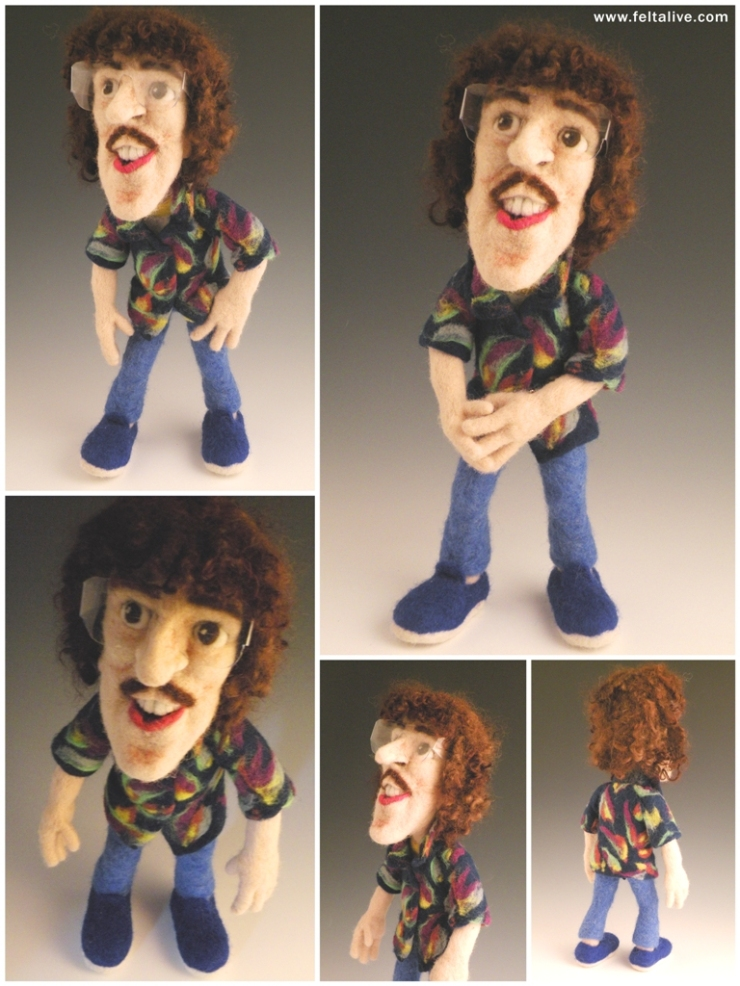 Li'l Weird Al Needle Felted Wool Art Doll